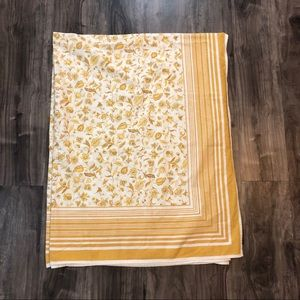 Vintage Williams Sonoma Golden Floral Tablecloth